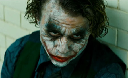 Heath Ledger como Joker, en The Dark Knight